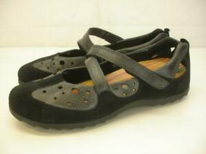 Women-039-s-8-8-5-39-Ecco-Soft-5-Mary-Jane-Comfort-Shoes-Black-Leather-Cut-Out-Flats
