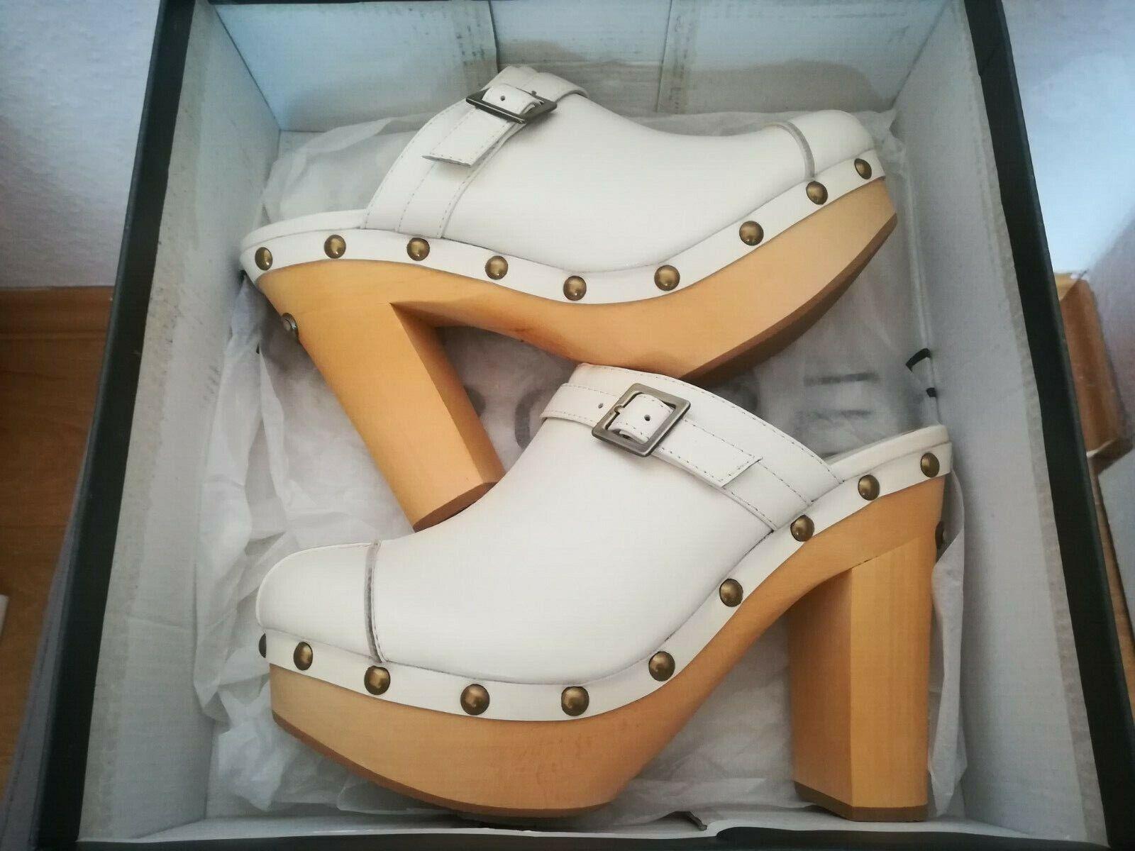 Roberto Botella Damen Frauen hoch Schuhe Plateau Clogs echt Leder Gr.38 (Creme)