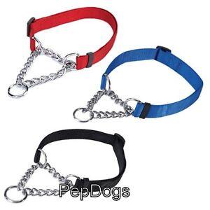 Martingale-Adjustable-Nylon-Dog-Training-Choke-Collar-with-Chain-Reduce-Pulling