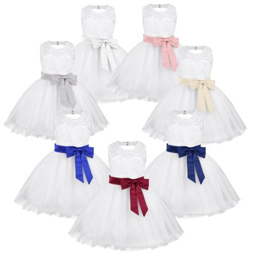New Floral Lace Wedding Princess Baby Girls Dress Toddler Party Kids Clothes