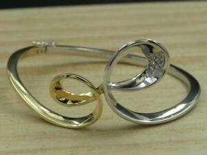 Vtg-BREUNING-Gold-amp-Sterling-Silver-Diamond-Infinity-Hinged-Bangle-Bracelet