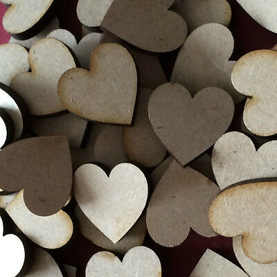 Blank Embellishments Craft 25x25mm 100x Wooden heart shapes 3mm MDF