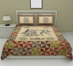 Cotton Floral print King Size Multicolor Luxury Bed sheet with 2 Pillow Cover