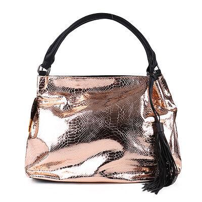 Metallic Quasten Fransen Beutel Tasche Lack Grau Rose Gold Shopper Kroko Optik