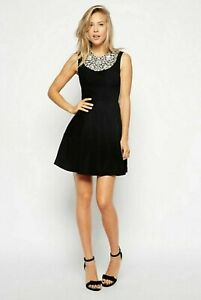 Needle-and-Thread-Designer-Lace-Collar-Black-Skater-Dress-UK-6-US-2