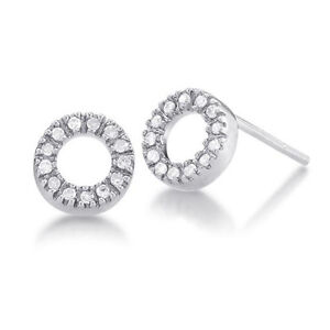 Handmade-14k-White-Gold-10ctw-Diamond-Pave-Circle-Stud-Earrings-NEW-with-TAGS