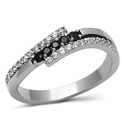 Women's Stainless Steel Black & Clear Round CZ Dual Offset Band Ring SZ 5-10