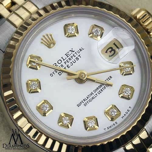 Ladies Rolex 26mm Datejust 18K & Stainless Steel White Color Dial with Diamonds