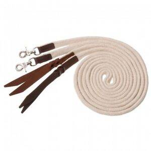 Royal-King-White-Deluxe-Flat-Cotton-Split-Reins-w-Leather-Poppers-Horse-Tack