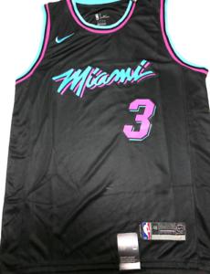 New Jersey Dwyane Wade Miami Heat NO3 Basketball NBA Swingman Black Blue White