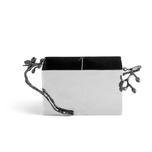 Michael Aram Black Orchid Stainless Steel Cutlery Silverware Caddy 110885