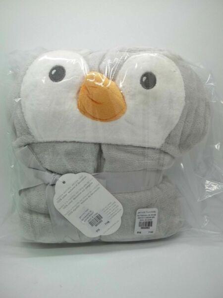 Pottery Barn Baby Winter Penguin Beach Wrap Towel Gray 27