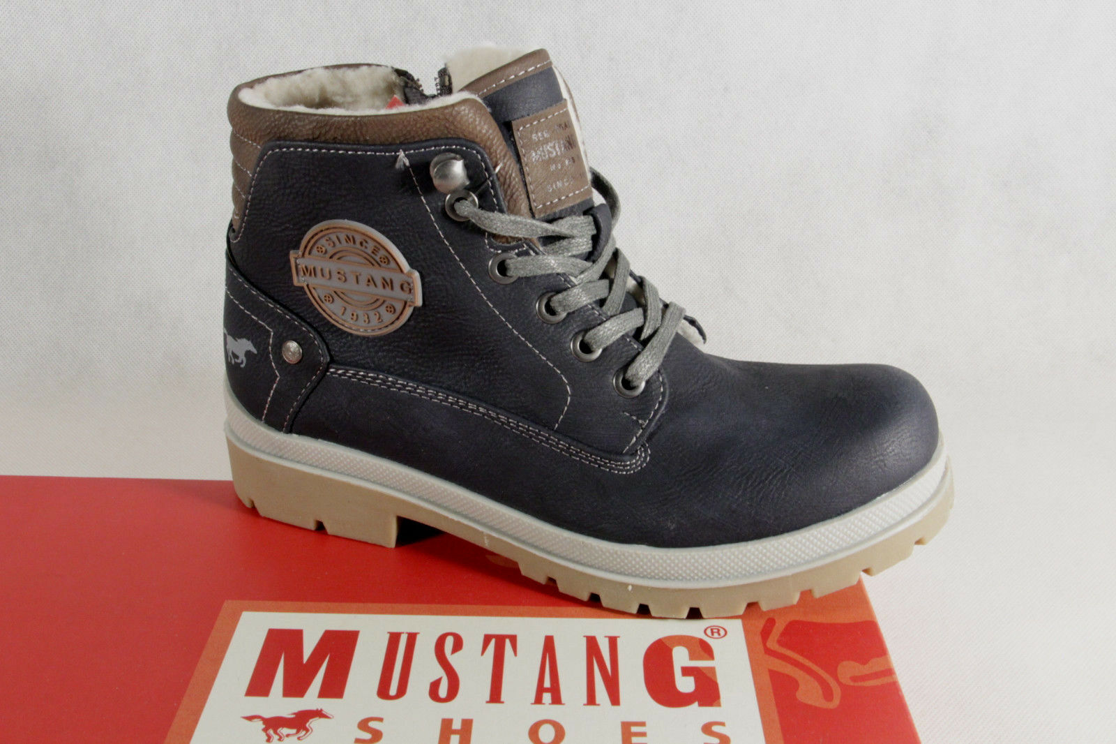 Mustang Ankle Boots Lace up Boots Boots bluee 5037 New