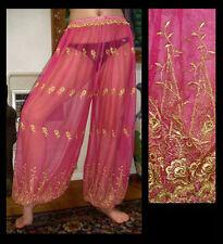 Harem Pants Belly Dance Fuchsia Pink w/ Gold Brocade