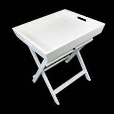 White Butler Serving Tray MDF Side Table Handles Portable Food Tea TV Dinner