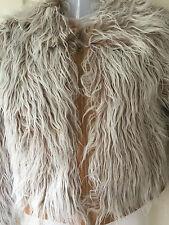 Fluffy Furry Faux Fur Faux Leather Yeti Jacket Y London Sz 12 CREAM/LIGHT BROWN