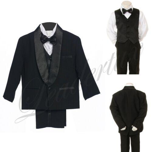 Boy Teen Wedding Party Dance Formal Satin Shawl Lapel Tuxedo Black Suit sz 8-18