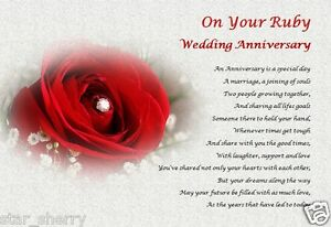 Image Is Loading Ruby Wedding Anniversary Personalised Poem Laminated Gift