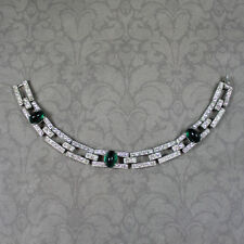 Vintage Trifari Rhinestone and Emerald Green Glass Art Deco Linked Bracelet