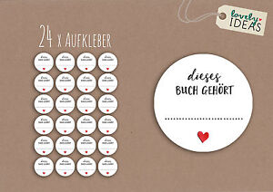 24-x-Geschenkaufkleber-034-dieses-Buch-gehoert-034-40mm-weiss-Etikett-Aufkleber-Sticker