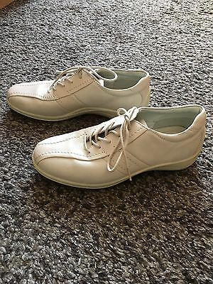 95294c208fb7 ECCO LADIES CREAM LEATHER SUEDE LACE UP FLAT CASUAL SHOES