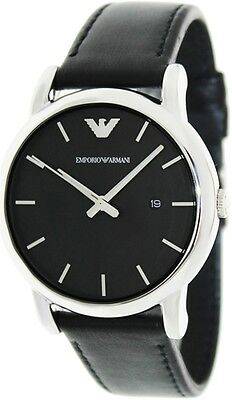 Emporio Armani Men's Classic AR1692 Black Leather Quartz Watch