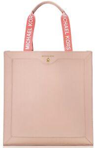 Blush Beige Peach Faux Leather Tote Bag