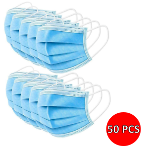 50x Disposable Face Masks Blue Soft Mask Breathable Mouth Cover Guard UK