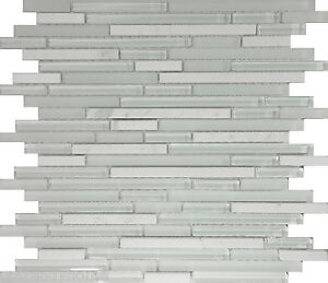 Image Is Loading 10 Sf White Marble Gl Blend Linear Mosaic
