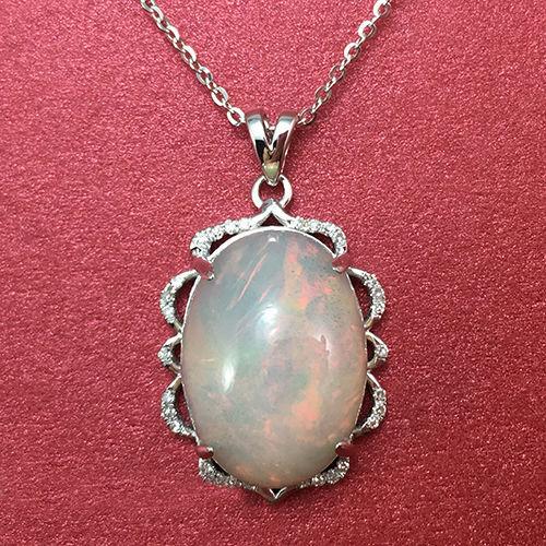 Real 14KT Solid White Gold 2.25 Carat Natural Opal IGI Certified Diamond Pendant