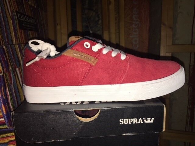 SUPRA Caylor Schuhe suede Stacks Stacks Stacks Vulc II ROT rot Navy Weiß Gr 41 US 8 neu 3ef276