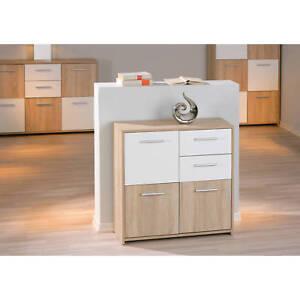 commode buffet bahut petit meuble de rangement 3 portes 2 tiroirs ch ne blanc ebay. Black Bedroom Furniture Sets. Home Design Ideas