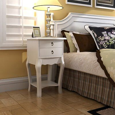 BEDSIDE TABLE TELEPHONE CABINET WITH  2 DRAWS BEDROOM HALLWAY FURNITURE