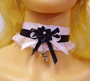 38d59c88ea230 Any Size Choker Black White Lace Bells Silver BDSM French Maid DDLG ...