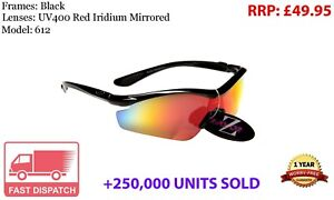 612 RayZor Black Sports Wrap Sunglasses Uv400 Red Iridium Mirrored Lens RRP£49