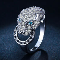 Voguish Leopard Head Zircon 18K Gold Plated Bague Circle Punk Party Ring US 6-9