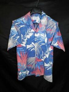 Vintage-Rai-Nani-L-Blue-Red-White-Hawaiian-Shirt-Reverse-Print-Short-Sleeve-USA