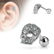 16G Skull cartilage Earring Micro CZ Paved Stainless Steel Tragus Barbell