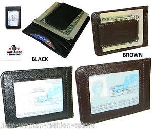 Mens-Women-039-s-Cowhide-Leather-Money-Clip-Wallet-Credit-Card-ID-Holder-Pocket-Case