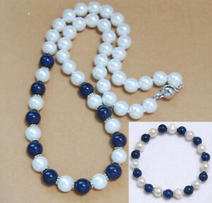 New 8mm 10mm White Blue Sea Shell Pearl Round Beads Necklace Earrings Set AAA
