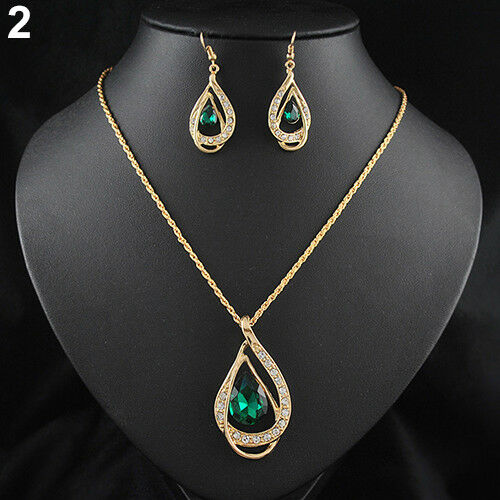 EG/_ Women Elegant Crystal Waterdrop Earrings Pendant Necklace Jewelry Set Fashio