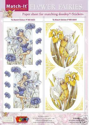 4 Stickerbogen * Match It Designbogen Hintergrundbogen Flower Fairies
