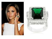 8 Tcw Cushion Cut Cz Antique Style Filigree Emerald Green Cocktail Ring Size 9