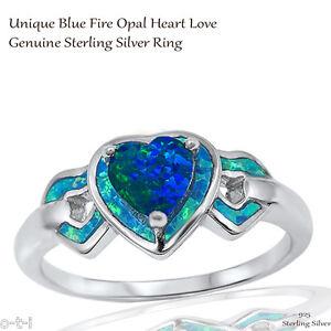 Australian Dark Blue Fire Opal Wedding Engagement Genuine Sterling Silver Ring