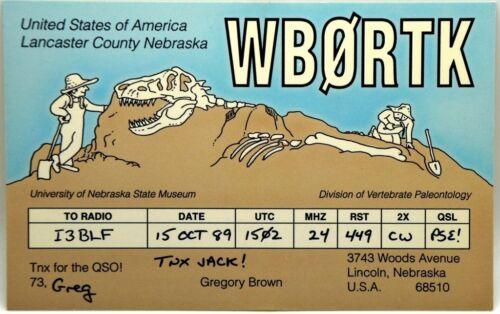 Cartolina QSL Radioamatori USA Lincoln, Nebraska 1989 University Of Nebraska Sta