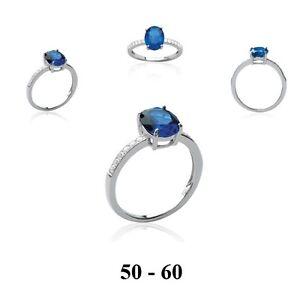 1ad3dc80212 Dolly-Bijoux Bague Rhodié T60 Sertie Saphir et Diamant Micro-sertie ...