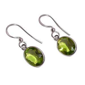 925-Sterling-Silver-Handmade-Green-Peridot-Dangle-Drop-Gemstone-Earrings-NLG-831
