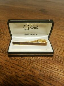 CABOUCHON Gold Plated Tie Clip with Cubic Zirconia