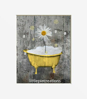 Farmhouse Bathroom Wall Art Daisy Flowers Bubbes Photography Rustic Artwork Ebay
