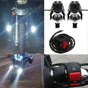 125W U5 Motorcycle LED Headlight Driving Fog Lights Spot Lamp + Switch 2x D